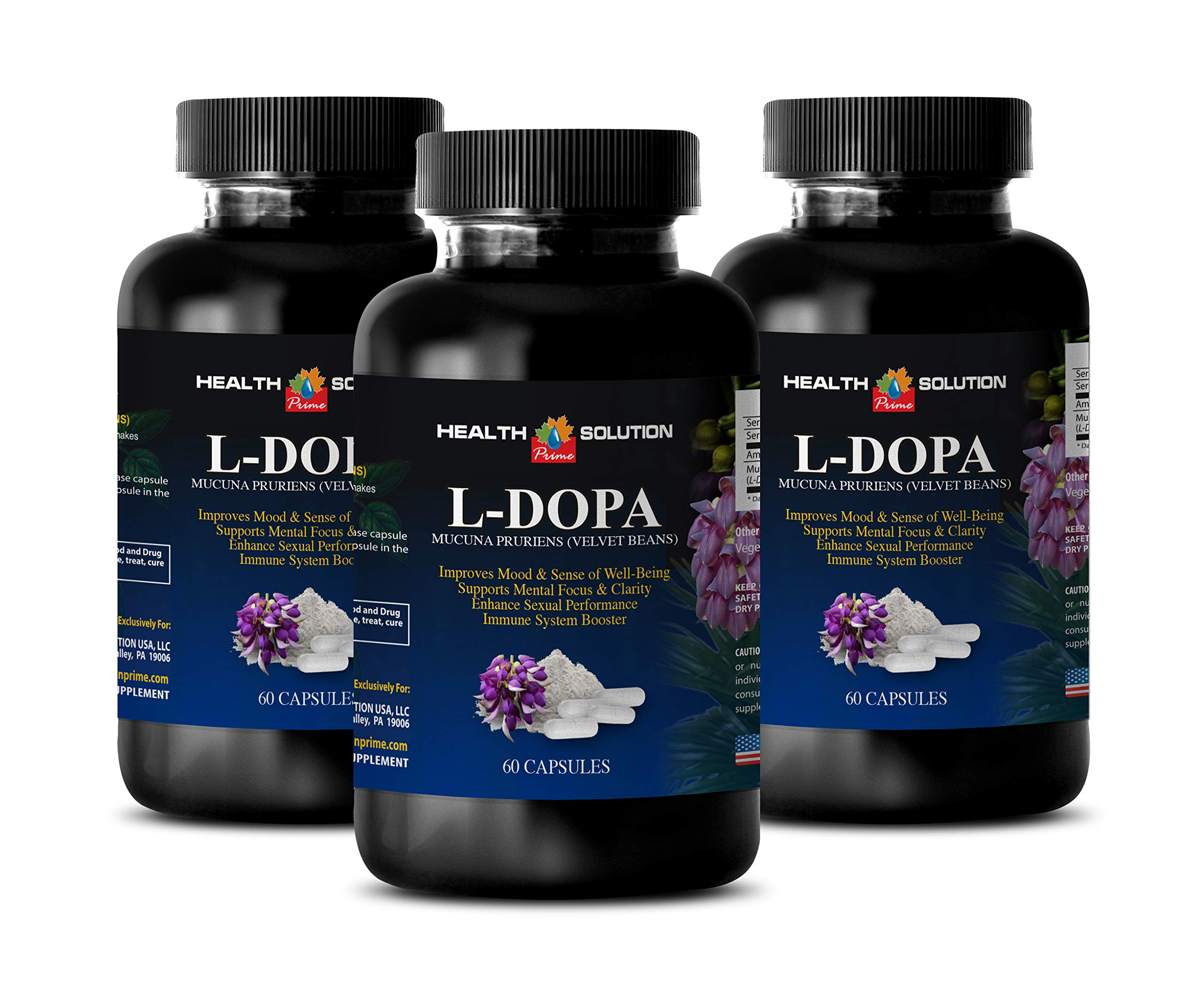 Dopamine Plus Supplement - L-DOPA 350 MG - MUCUNA PRURIENS Extract - Velvet Beans - dopa Renew - 3 Bottles (180 Capsules)
