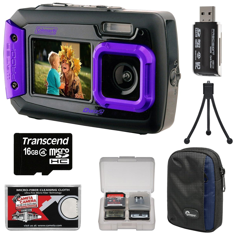 Coleman Duo 2 V9wpデュアル画面衝撃&防水デジタルカメラ(パープル) with 16 GBカード+ケース+キット   B00M9DZA1K