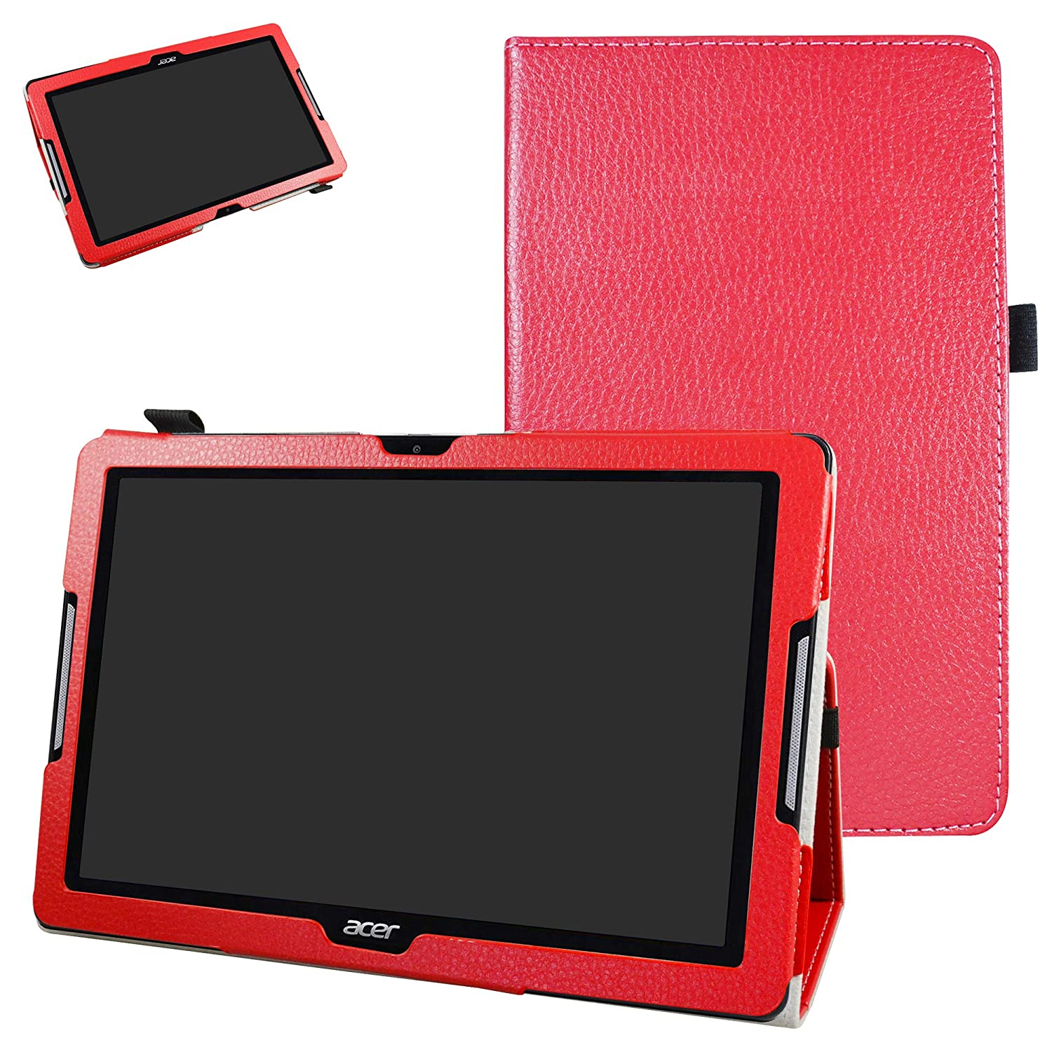 Acer Iconia One 10 B3-A30 Case,Mama Mouth PU Leather Folio 2-folding Stand Cover with Stylus Holder for 10.1' Acer Iconia One 10 B3-A30 Android Tablet, Black Bigmouthstore 10001387-1