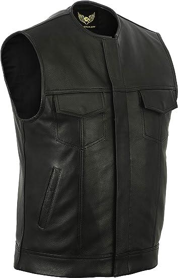 Leatherick SOA Chaleco de motorista de cuero genuino sin cuello SOA para hombre Chaleco sin cuello para motorista con bolsillos profundos
