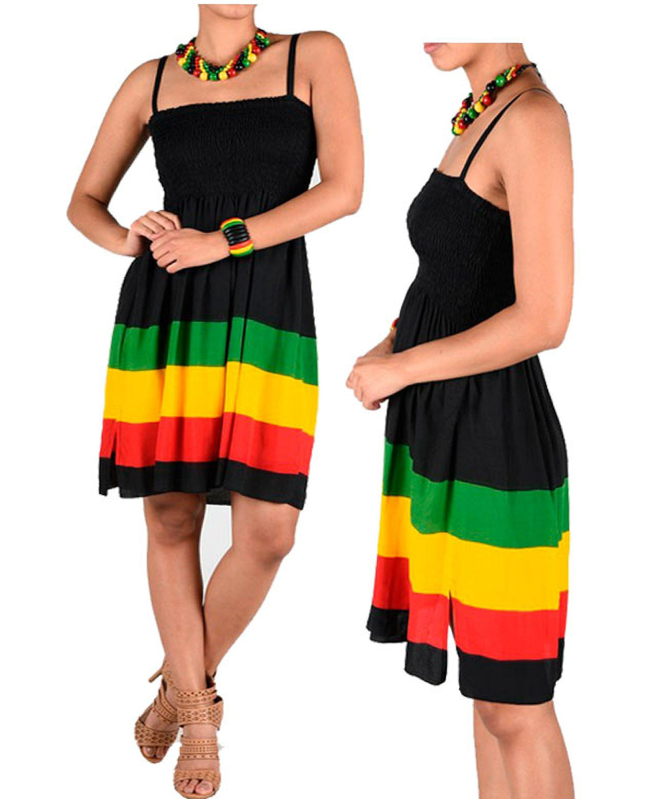 Womens Jamaican Caribbean Reggae Festival Rasta Colored Sleeveless Empire Skirt Dress 1 Size Fit Most Stretch Fit Green, Black
