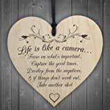 Red Ocean Life is Like A Camera Sign Plaque Gift Shabby Chic Wood Hanging Heart Thank You