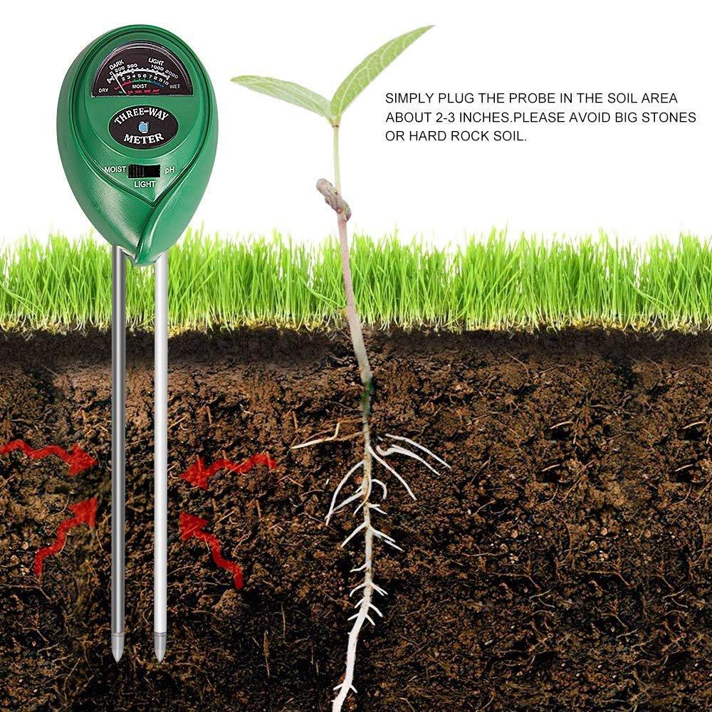 3-in-1 Boden PH-Meter f/ür Feuchtigkeit Indoor // Outdoor Hohe Genauigkeit und einfache Leseanzeige CHINFAI Bodenfeuchtemessger/ät Licht /& pH keine Batterie erforderlich