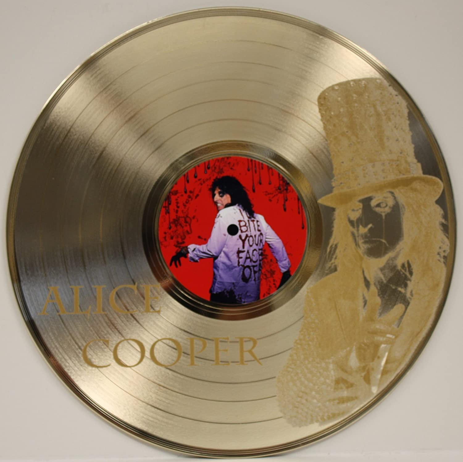 Alice Cooper Welcome To My Nightmare 2 Limited Edition Gold Clad 12' LP Laser Cut Record Wall Display. Gold Record Outlet