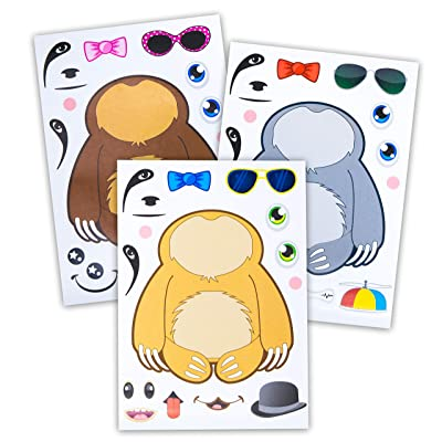 24 Make A Sloth Animal Stickers - Design Your Own Sloth In Different Colors & Accessories - Great Addition To Sloth Gifts & Plush Toys - Fun Birthday Party Favors & Party Activity For Kids Ages 3+: Toys & Game