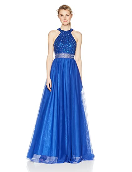 Blondie Nites Womens Long Lace/Mesh Beaded Ballgown Prom Dress: Amazon.co.uk: Clothing