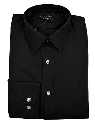 22d57deacb Banana Republic Men s Standard Fit Non-Iron Shirt Black Small at ...