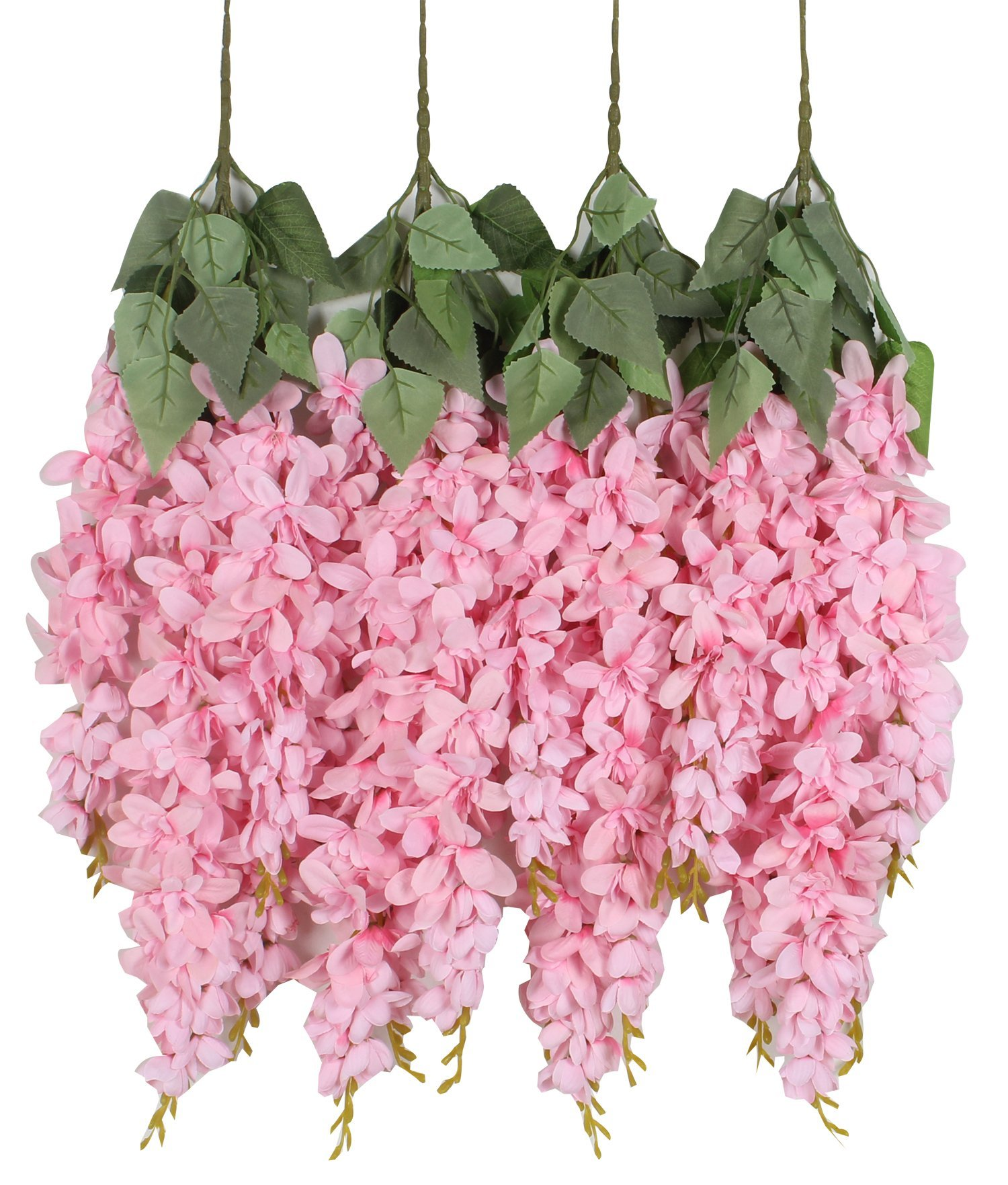 silk flower arrangements duovlo silk wisteria flower artificial 2.13 feet hanging wisteria vine fake flower bush string home party wedding decoration,pack of 4 (pink)