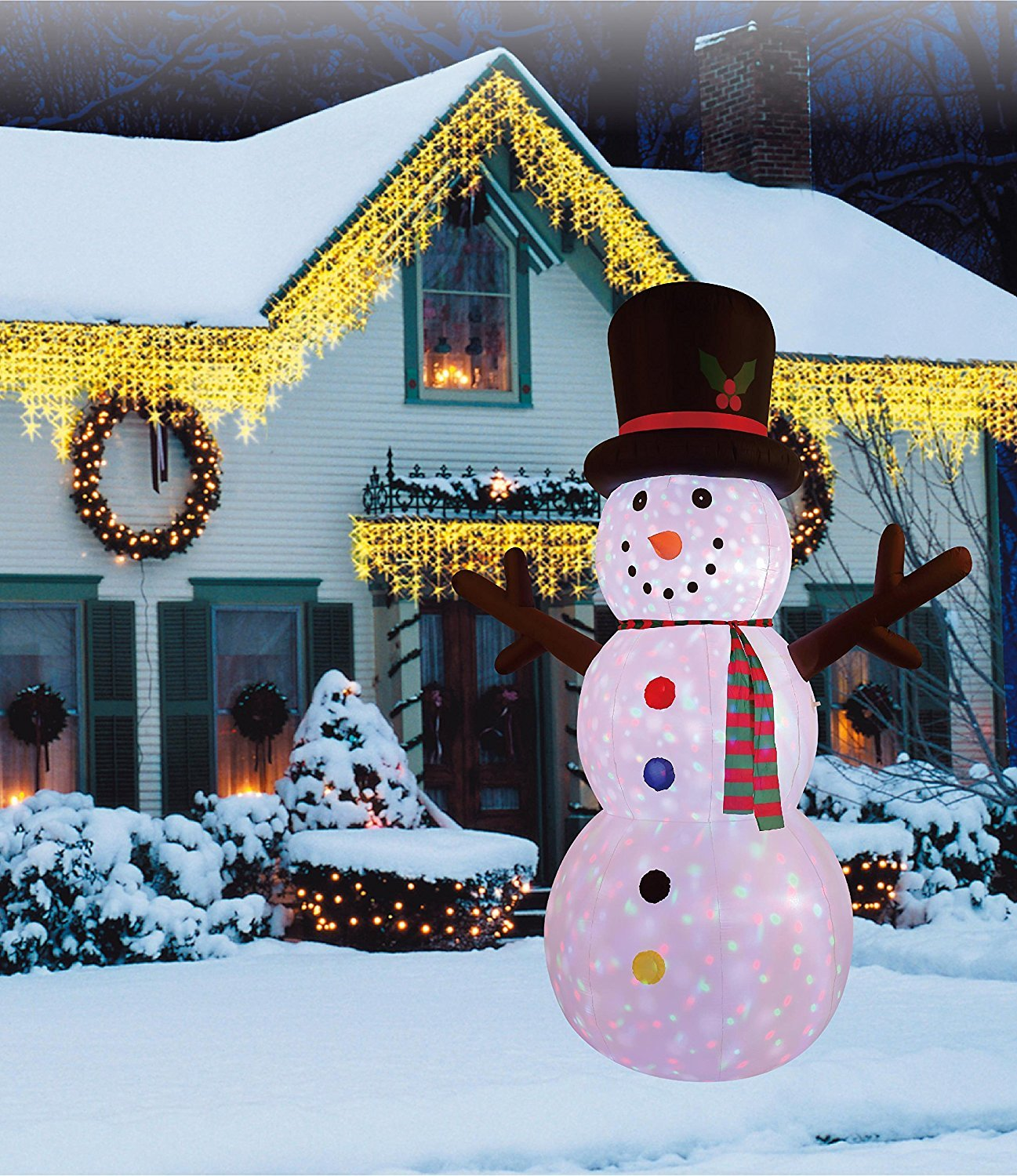 New 12 FT Inflatable Happy Flashing Snowman With 3pcs rotating dot Lights Christmas X'mas Decoration by Beyond Shop USA