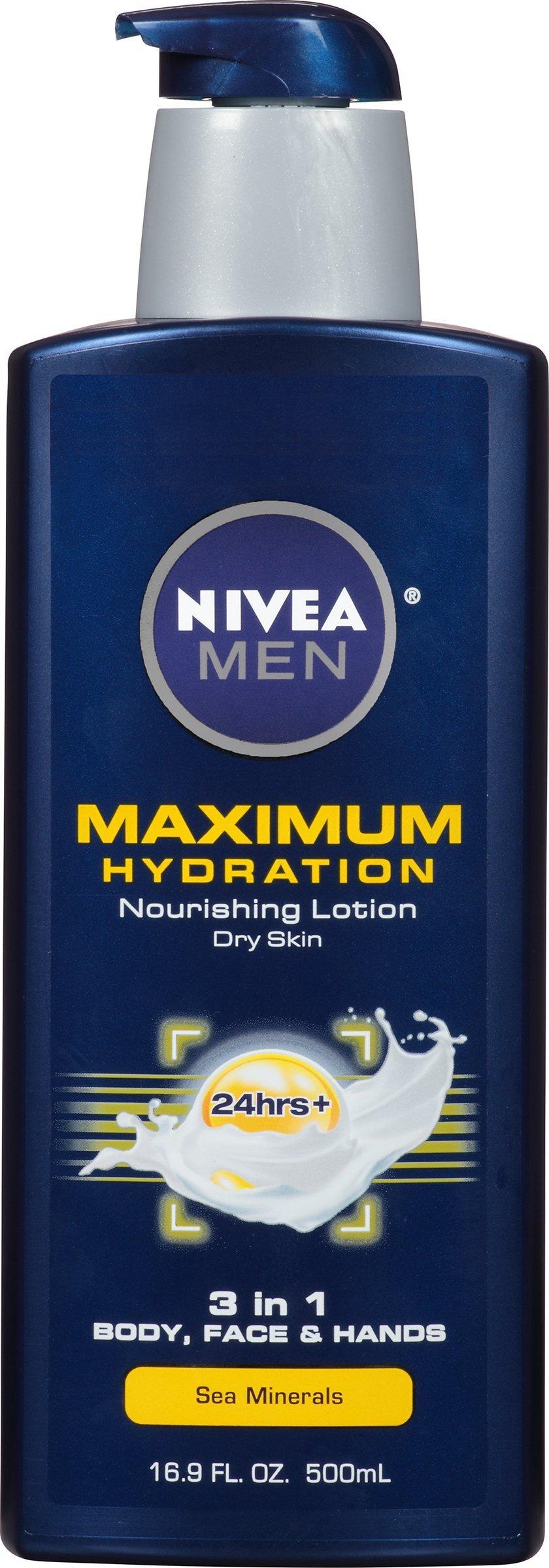 NIVEA Men Maximum Hydration 3 in 1 Nourishing Lotion 16.9 Fluid Ounce