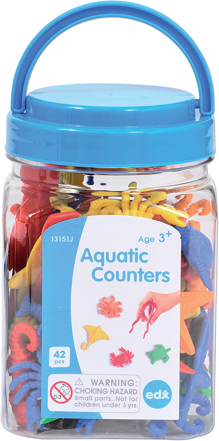 Plastic Squares edx education Color Tiles Mini Jar Colorful Math Manipulative Sorting and Sequencing Activity