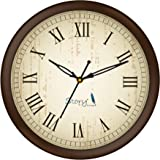 Story@Home 10-inch Round Shape Wall Clock with Glass for Home/Kitchen/Living Room/Bedroom/Office (Brown)