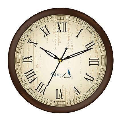 Story@Home Round Plastic Wall Clock (25 cm x 25 cm x 4 cm, Brown, WC1402)