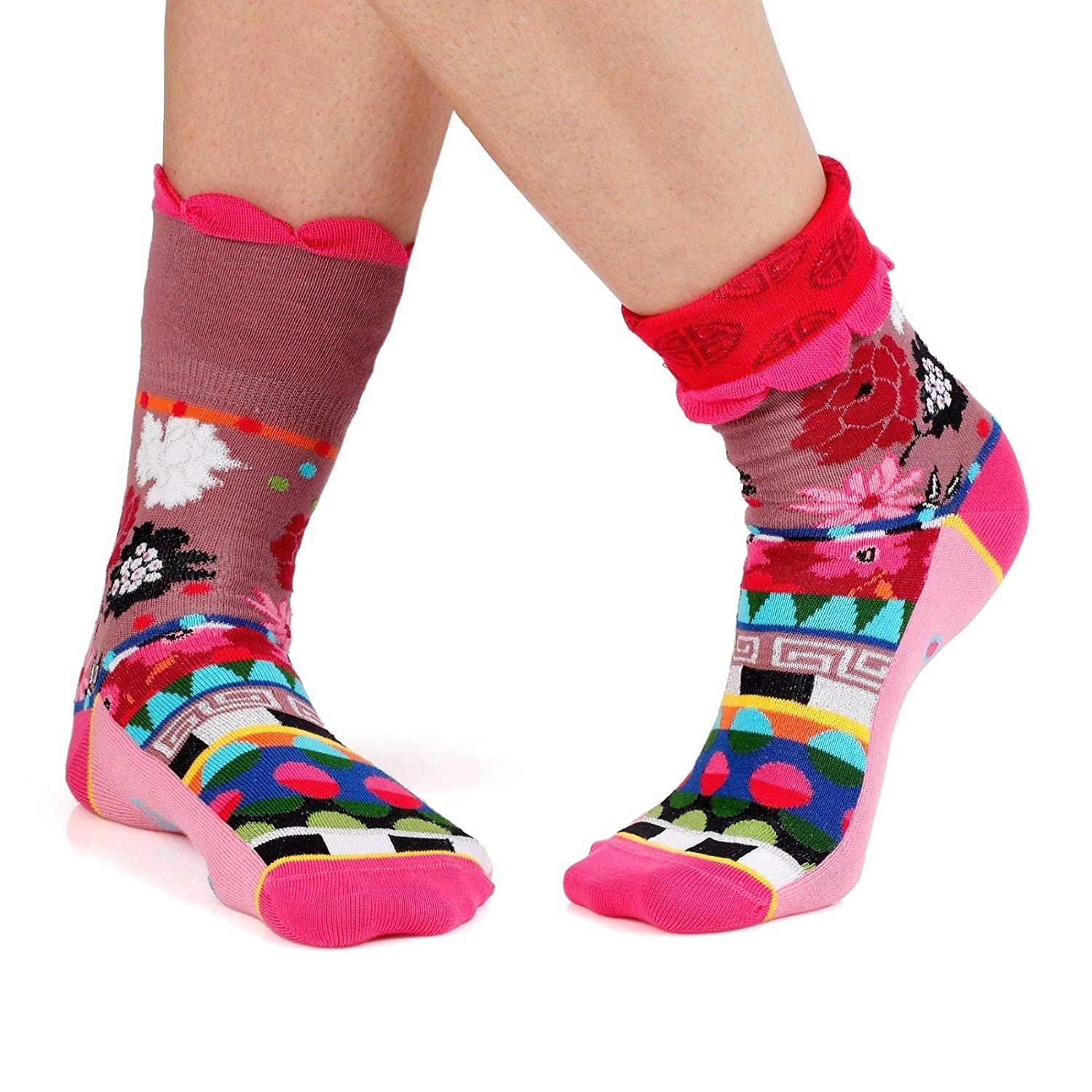 pink, Pink, Multicoloured Dub & Drino France Women's Cuffed Crew Socks colorful Geometric and Floral Patterns US 5 8.5