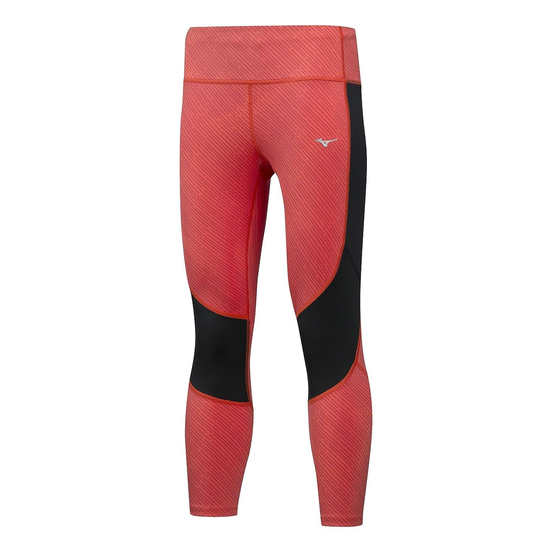 Mizuno Damen Impulse 3/4 Printed Tight Laufbekleidung Tight Orange - Schwarz Xs