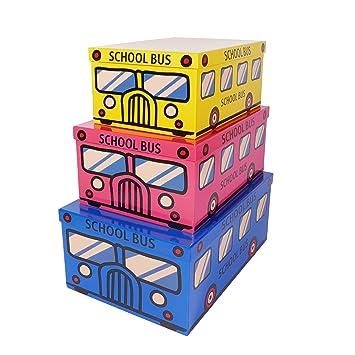 SLPR Cajas de cartón decorativas con tapa para juguetes y fotos, juego de 3 Autobús