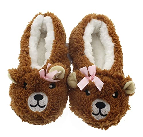 4f400627d Novelty Kids Slippers for Girls Cute Animal Slippers Funny,Fuzzy Slipper  Socks Bear Little Kid