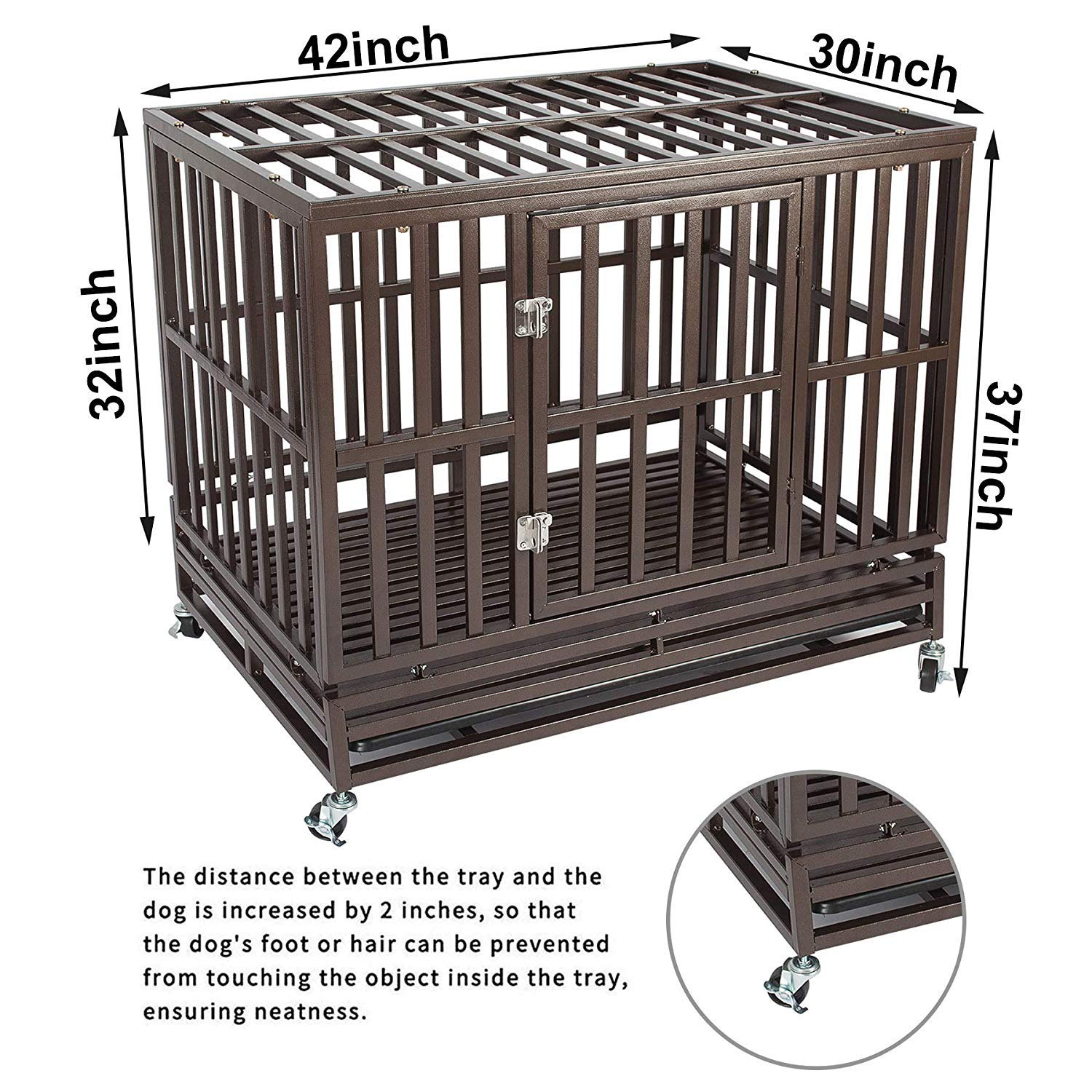 Haige Pet Your Pet Nanny 42'' Heavy Duty Dog Crate Cage Kennel and Playpen Steel Strong Metal for Medium and Large Dogs with Patent Lock and Four Lockable Wheels, Black by Haige Pet Your Pet Nanny (Image #7)