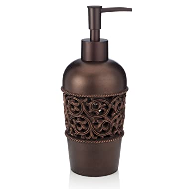 EssentraHome Bronze Liquid Soap Dispenser for Bathroom, Bedroom or Kitchen. Also Great for Hand Lotion and Essential Oils.
