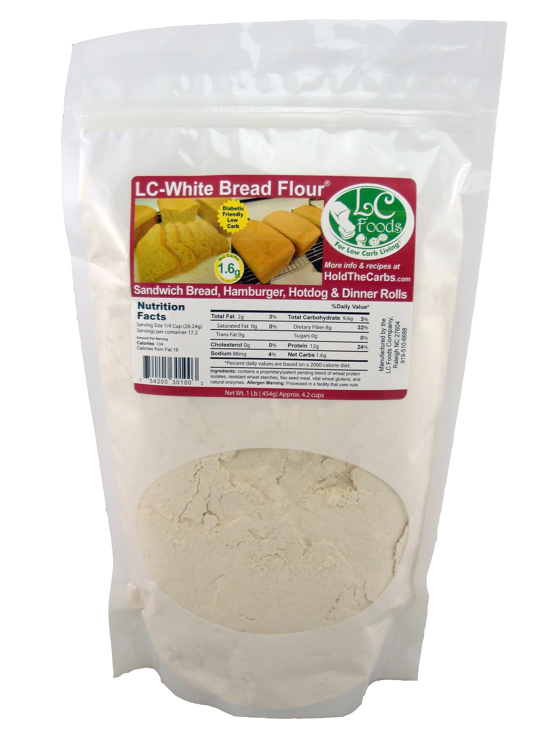 Low Carb White Bread Flour (1 LB) - LC Foods - All Natural - No Sugar - Diabetic Friendly