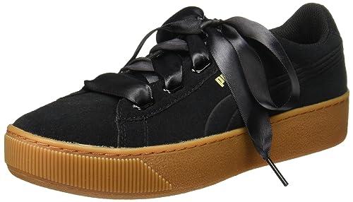 a0b6f90f553 Puma Women s Vikky Platform Ribbon Black Sneakers-6 UK India (39 EU)