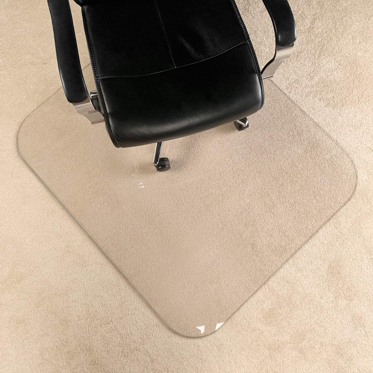 "[UpgradedVersion] Crystal Clear 1/5"" Thick 47"" x 40"" Heavy Duty Hard Chair Mat, Can be Used on Carpet or Hard Floor"