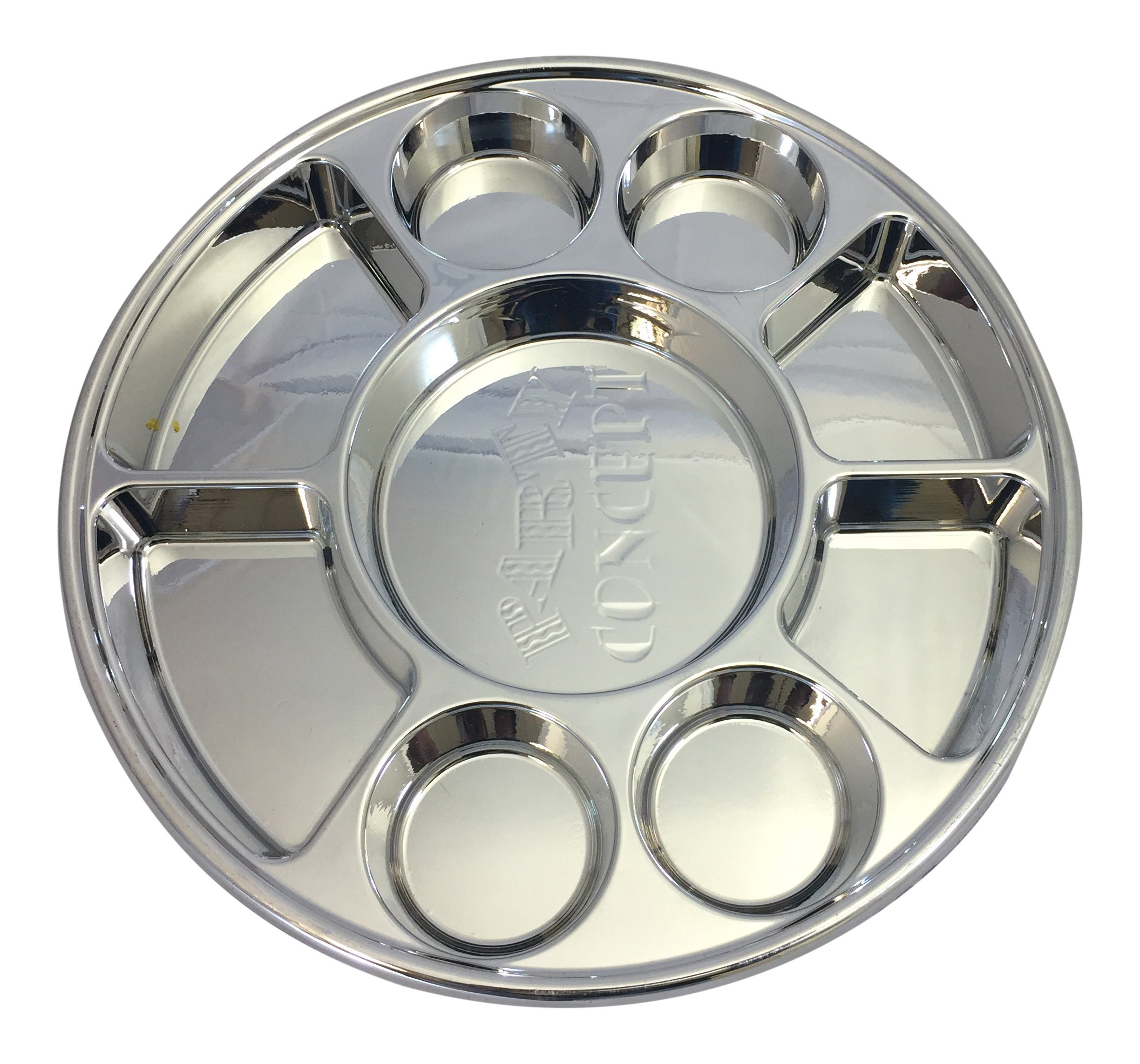 Movie Time Video 100 Piece 9 Compartments Round Disposable Party Tray/Thali/Plates, Silver