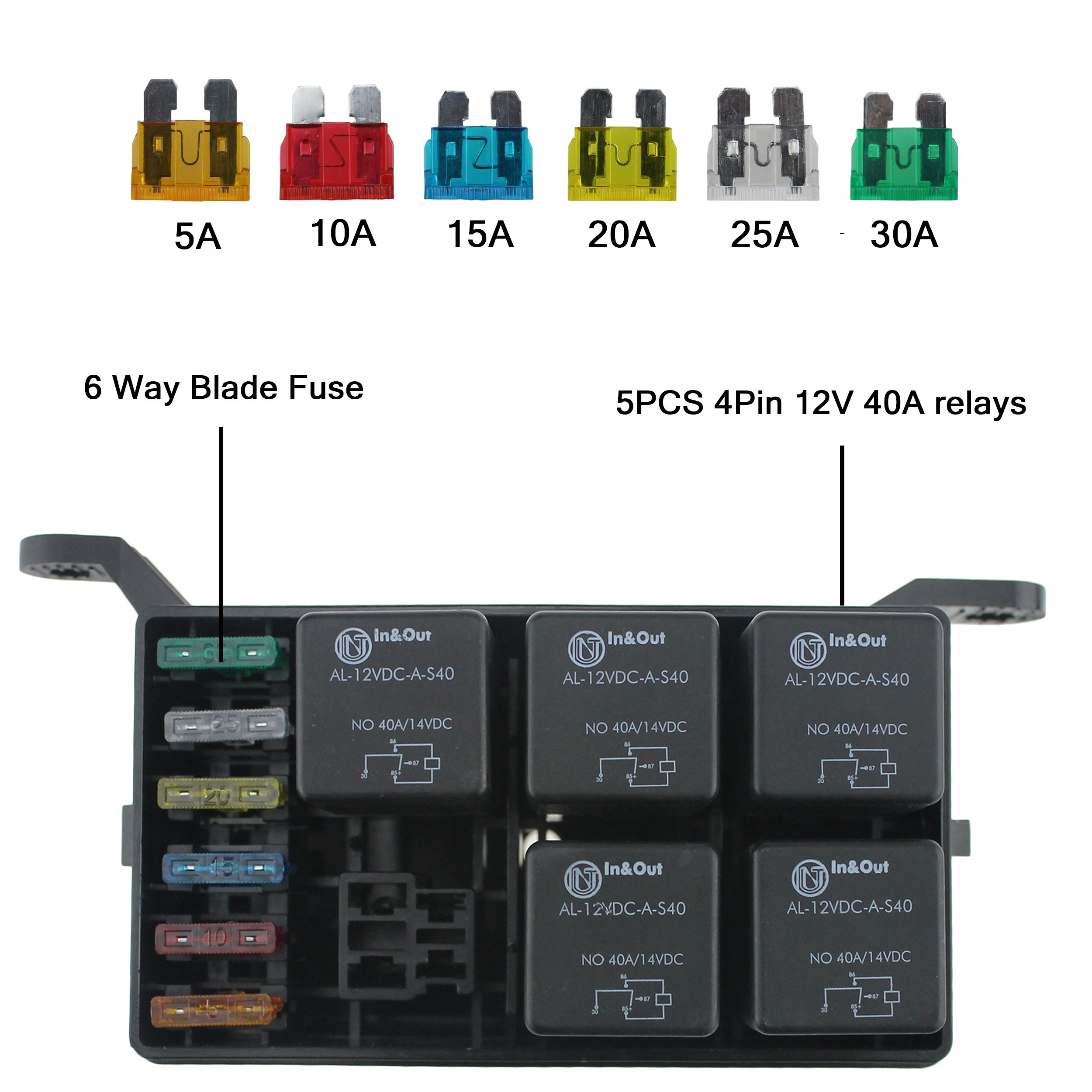 Iztoss 12 Slot Relay Box 6 Relays Blade Fuses Fuse 4 Pin With And 4pins 12v 40a For Automotive Marine Boat F2546 Z Tools