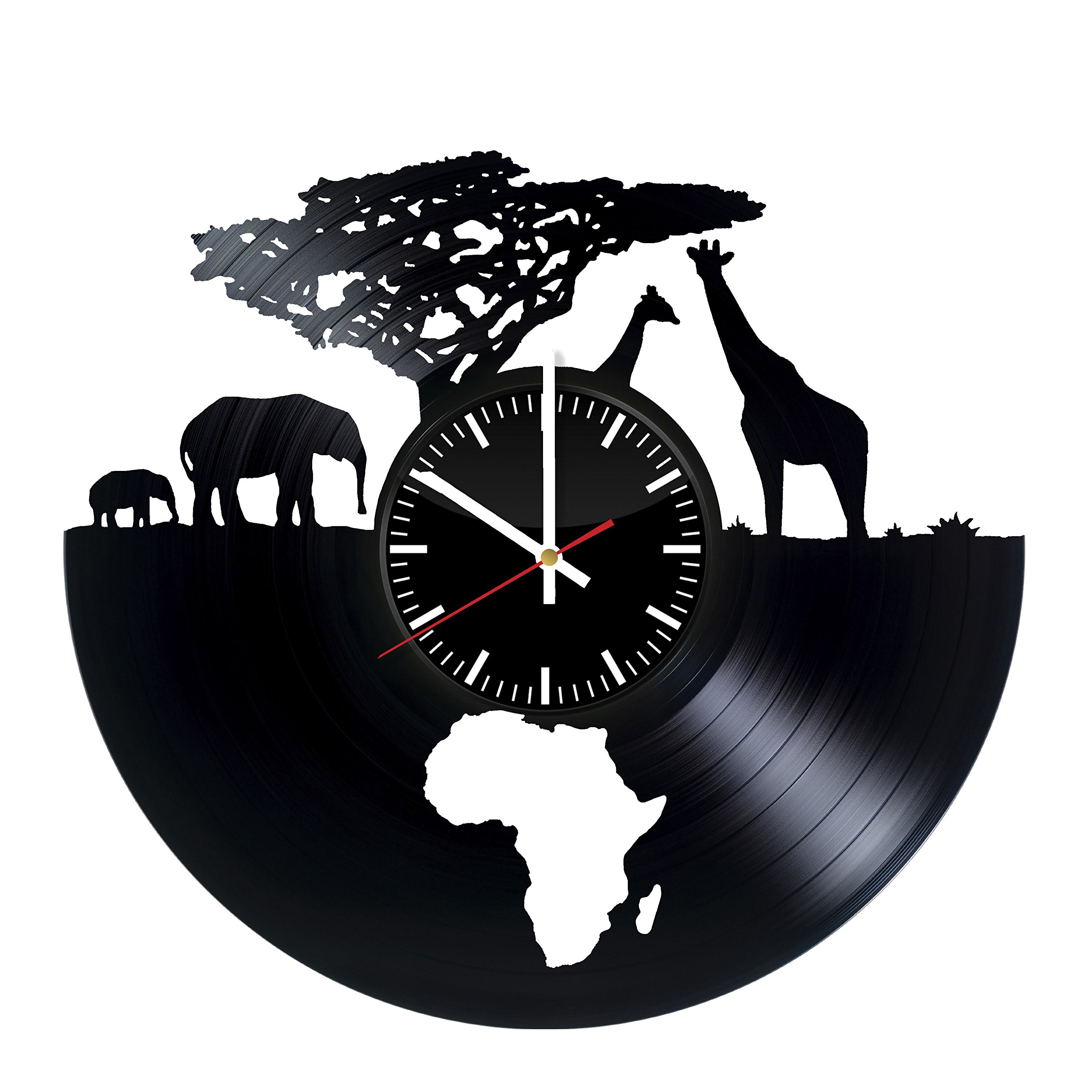 African Animals Clock - Africa Safari Vinyl Record Wall Clock - Wall Art Room Decor Handmade Decoration Party Supplies Theme - Handmade Present For Kids Adults Men Women - Vintage and Modern Style