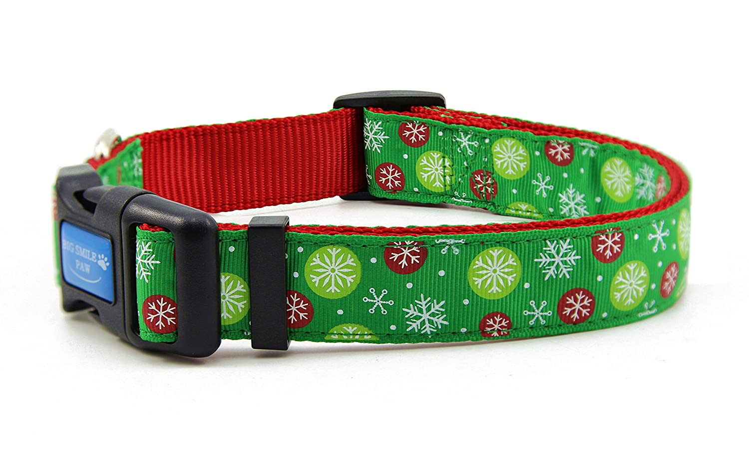 M BIG SMILE PAW Nylon Dog Collar Adjustable,Winter Snow Theme (M)