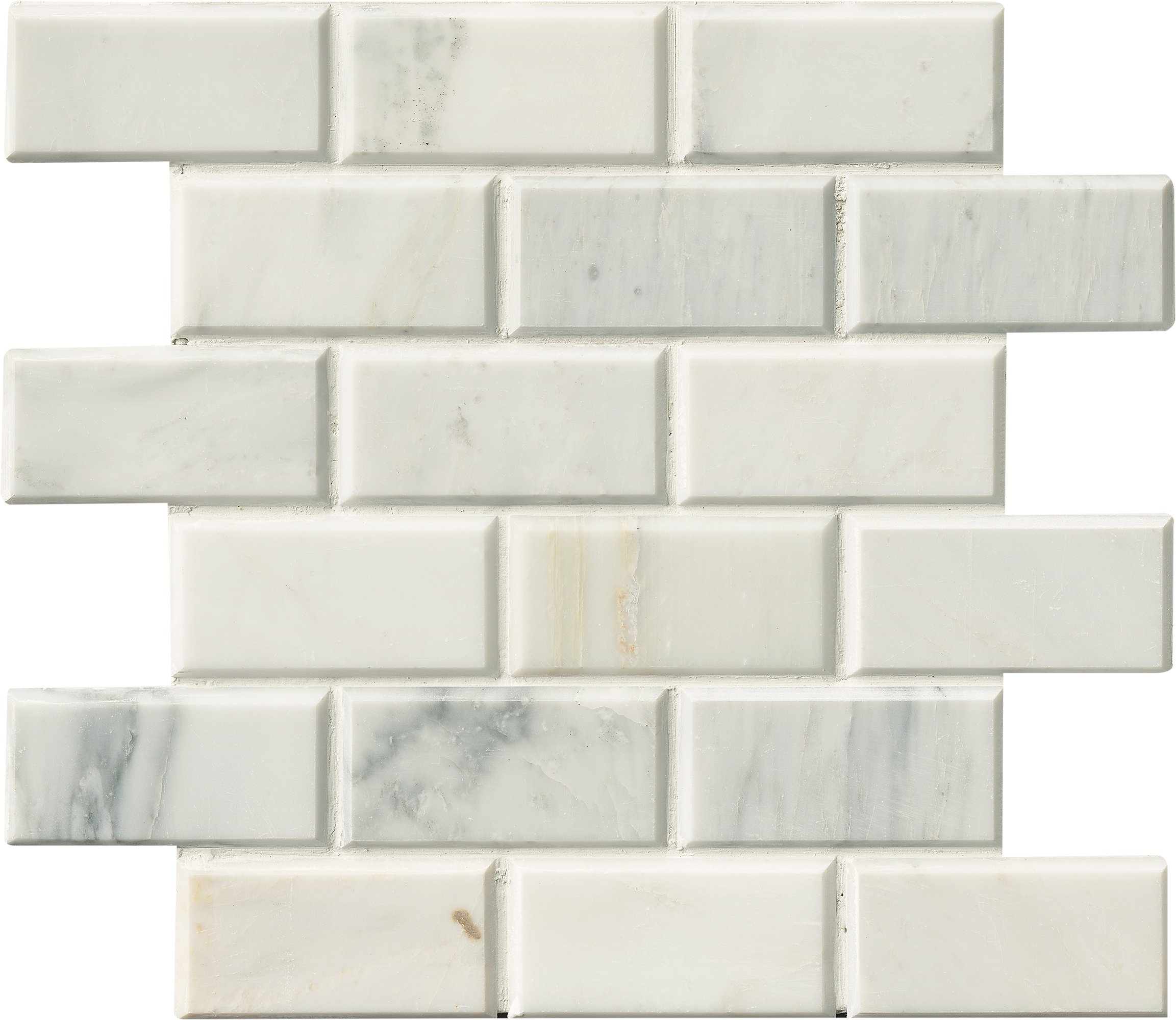 M S International Arabescato Carrara 2 In. X 4 In. Honed And Beveled Marble Mesh-Mounted Mosaic Tile, (10 sq. ft., 10 pieces per case)