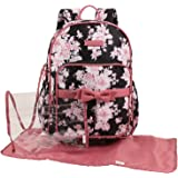 Laura Ashley Dome Backpack Diaper Bag, Black, Floral