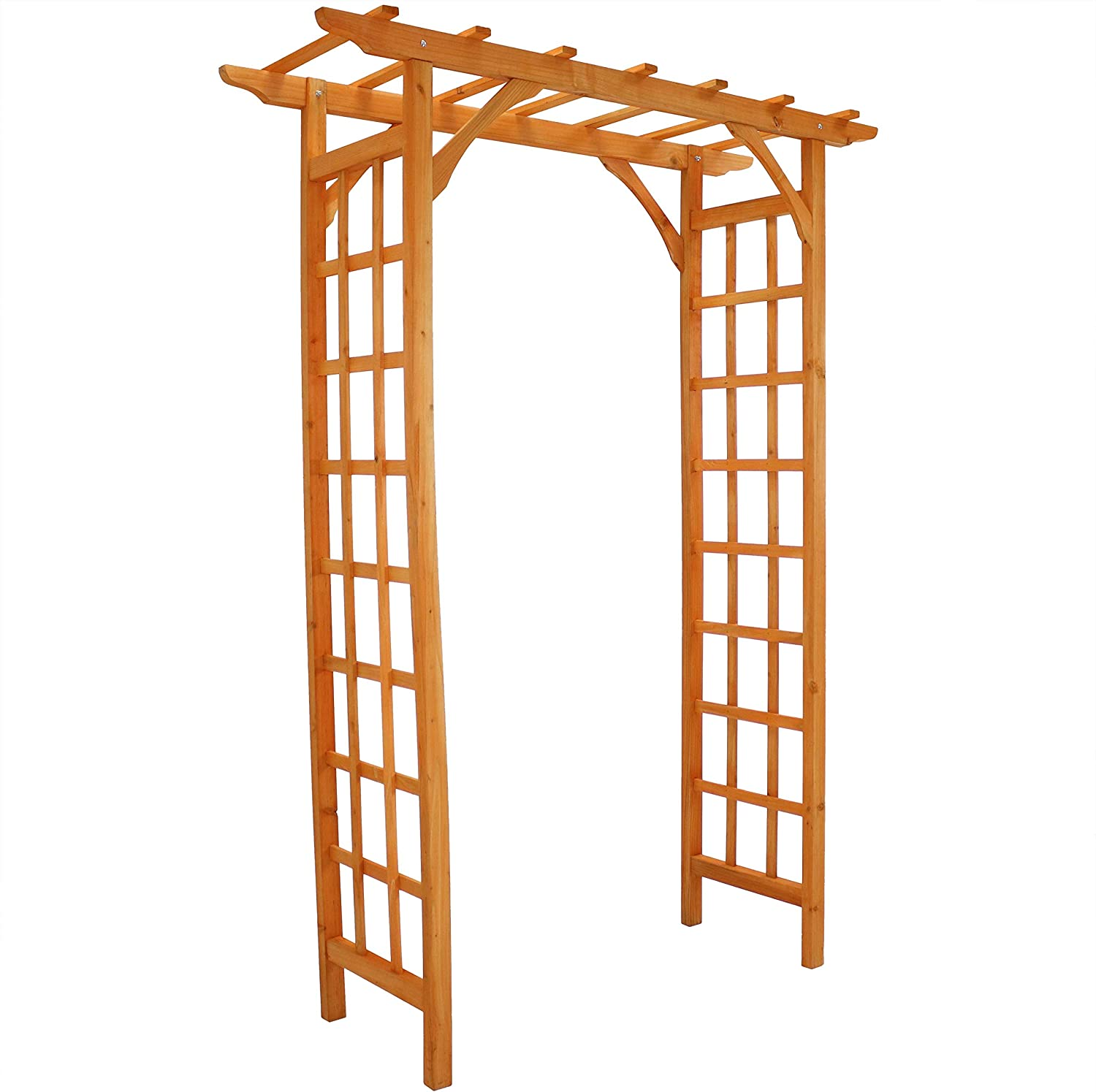 Sunnydaze Wooden Garden Arbor - Outdoor Wedding Arch - Great Garden Accent Piece - Trellis Sides for Climbing Plants - Durable Fir Wood Material - Weatherproof Finish - Place Over Walkways - 78-Inch