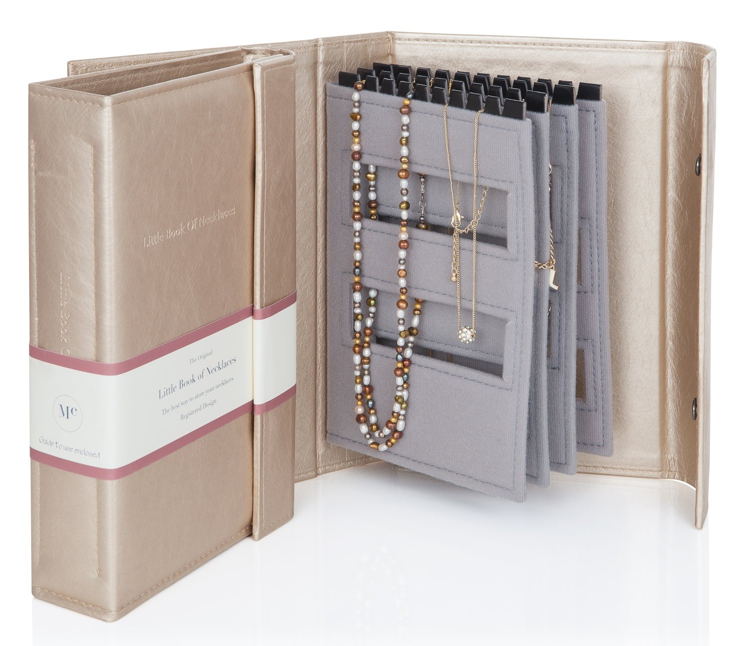 Little Book of Necklaces - A Book for Keeping Your Necklaces Tangle-free and Safe! Gold Little Shop Of Bkneckgold