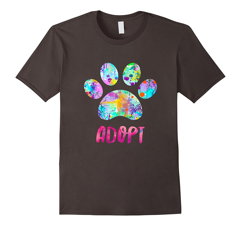 Adopt a Dog Shirt, Watercolor Rescue Dog Paw Print Tee Shirt-BN