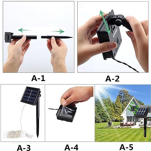 portable 1.2 V /étanche avec capteur de lumi/ère pour terrasse jardin Guirlande lumineuse solaire 8 modes 100 LED d/écoration de f/ête Guirlande lumineuse Starlight 12 m/ètres all/ée