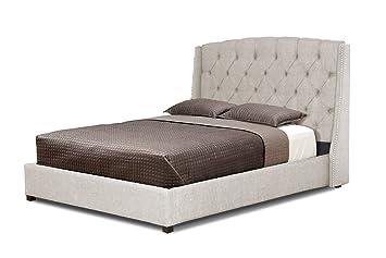 baxton studio ipswich linen modern platform bed queen beige - Modern Platform Bed