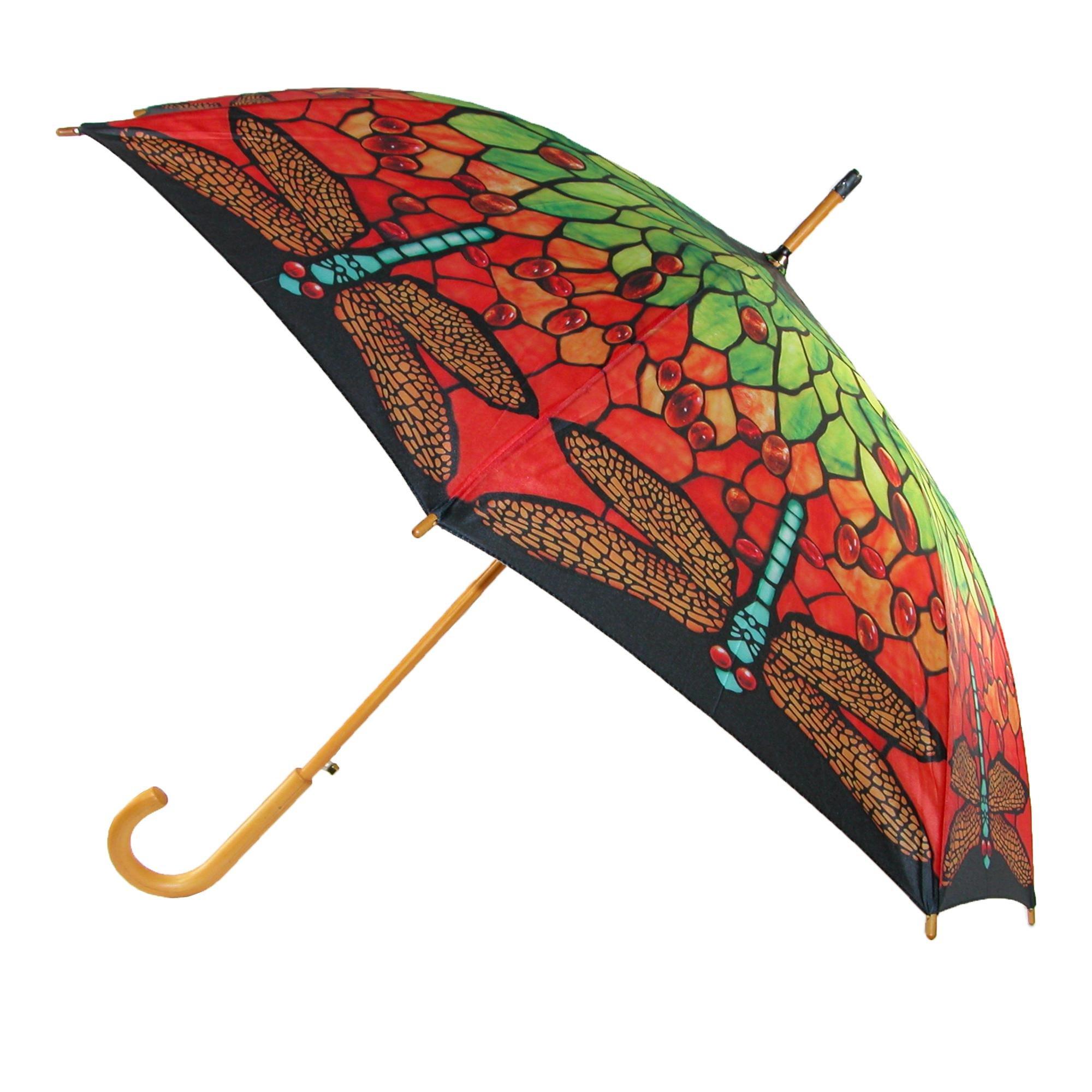 CTM Women's Auto Open Stain Glass Print Stick Umbrella, Multi-Color