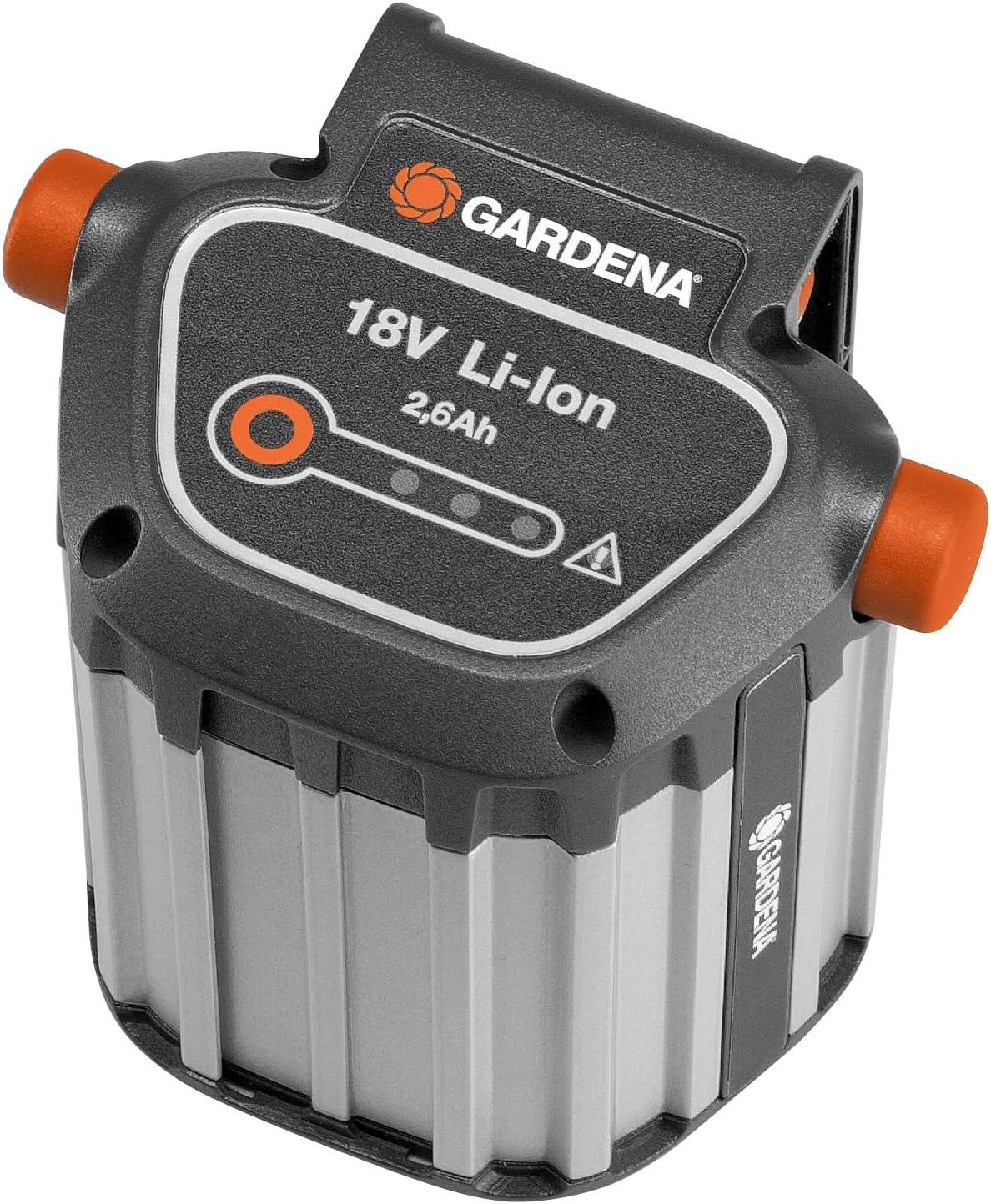 Sistema de batería BLi-18 de GARDENA: accesorio para varias desbrozadoras, sopladores y tijeras cortasetos de GARDENA, 18 V, capacidad de 2,6 Ah, indicador LED del estado de carga (9839-20)
