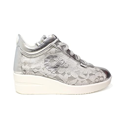a18cb599703c2 AGILE BY RUCOLINE Scarpe Donna Sneaker Zeppa Pelle E Pizzo Colore Silver 226   Amazon.it  Scarpe e borse