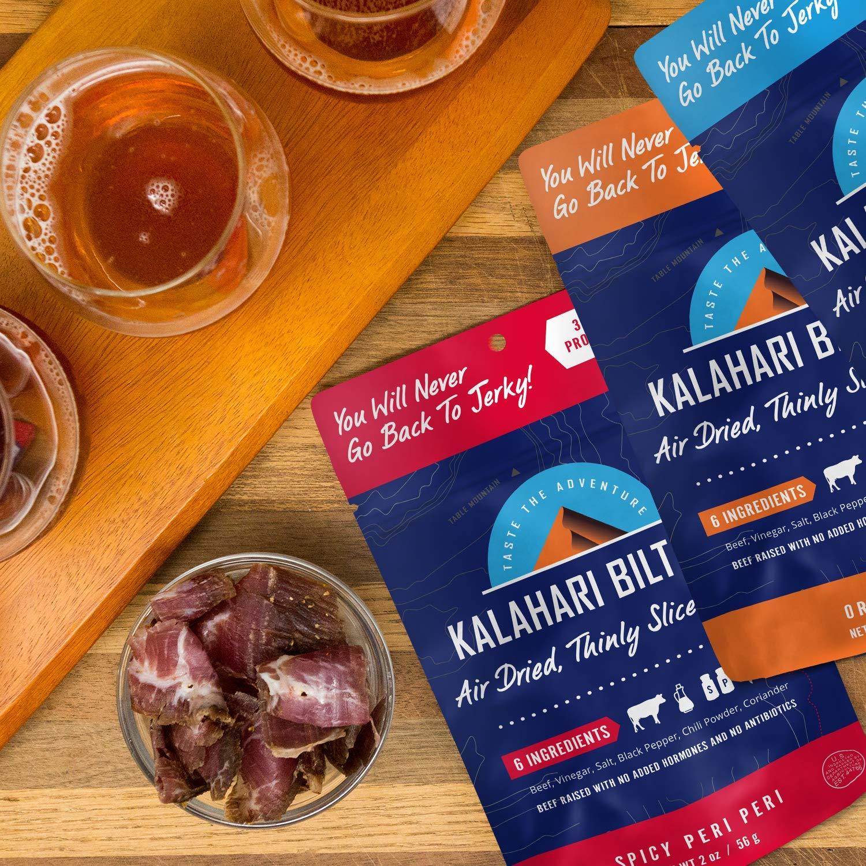 Kalahari Biltong | Air-Dried Thinly Sliced Beef | Spicy Peri Peri | 2oz (Pack of 3) | Zero Sugar | Keto & Paleo | Gluten Free | Better than Jerky by Kalahari Biltong (Image #5)