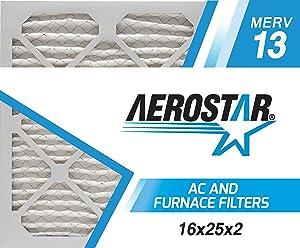Aerostar 16x25x2 MERV 13, Pleated Air Filter, 16x25x2, Box of 6, Made in The USA