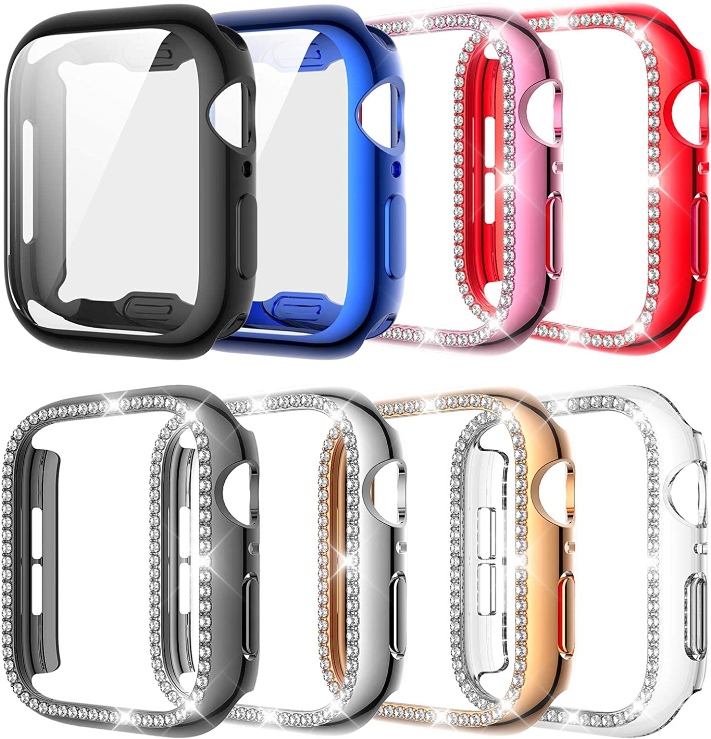 8 Pack Compatible with Apple Watch Bling Case 40mm Series SE 6 5 4, Diamond Frame Hard Cover Bumper +Tpu Full Screen Protector for All Version 40mm Iwatch Accessorries