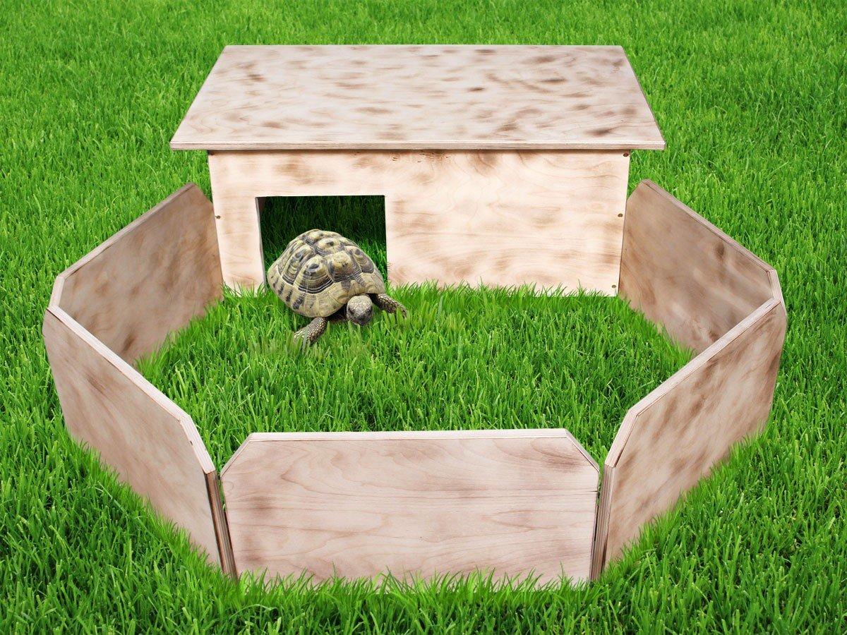 Trend-world.eu Enclos Tortue avec clôture Bois ondé de qualité supérieure Bien fabriquée à la Main Parc avec Aire de Jeux Maison + Clôture cabane pour Petit Animal au Jardin ou terrasse