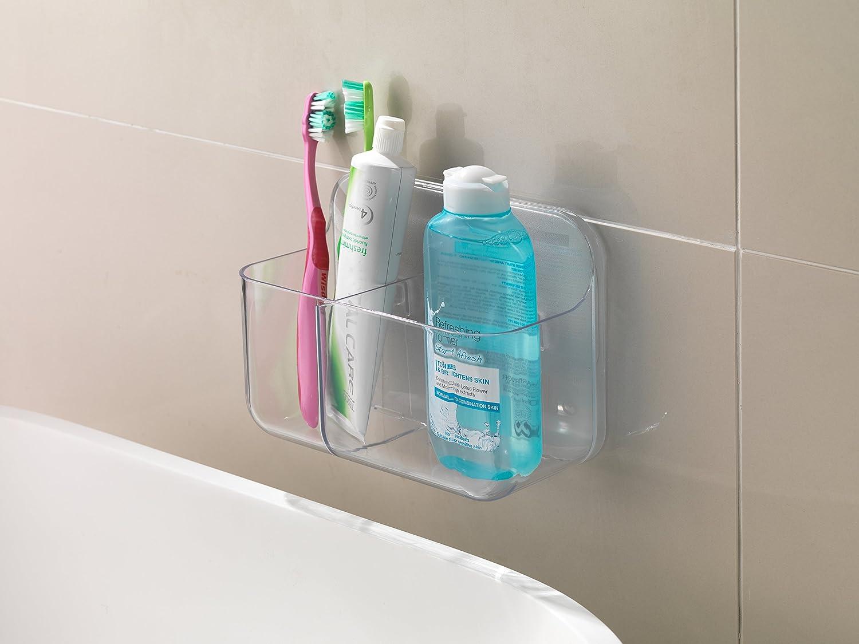 Addis Invisifix Bathroom Toothbrush 2 Compartment Caddy Holder ...