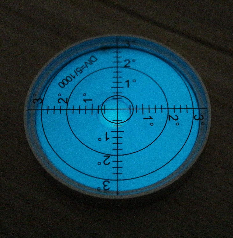 Gradangabe Gro/ße Metall-Wasserwaage mit Luftblase 60mm Durchmesser Leuchtende Blau//Silber Bullseye Dosenlibelle Fl/üssigkeit Boden-Wasserwaage