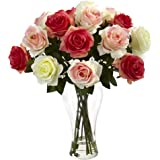 Nearly Natural 1348-AP Assorted Blooming Roses with Vase, Red/Pink