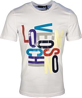 54e2e98235e25 Moschino T-Shirt Random Letter Applique Logo Front M4731 49 E1811-WHITE