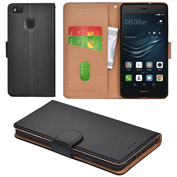pick up b65bb 561ca Aicoco Huawei P9 Lite Case, Flip Cover Leather, Phone Wallet Case for  Huawei P9 Lite - Black