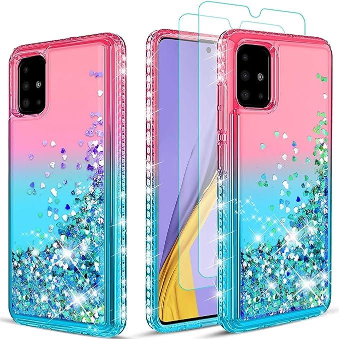 Wallme Lot de 2 coques pour Samsung Galaxy A51 avec film de protection d'écran HD scintillant, sable mou, absorbant les chocs et les chocs